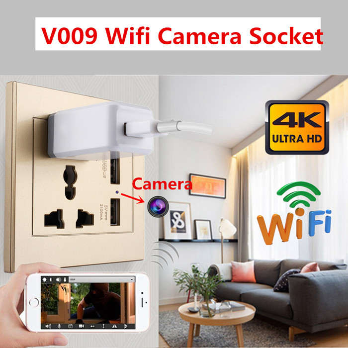 V009 Wall Outlet 4K Hidden Camera w/ DVR & WiFi Remote View
